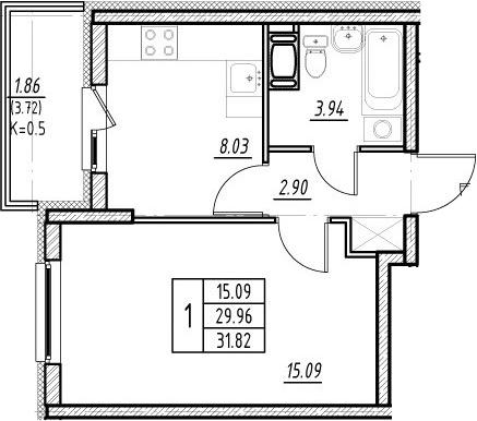 1-к.кв, 29.96 м²