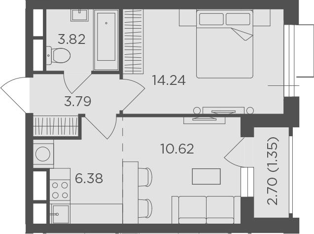 2Е-к.кв, 40.2 м², 3 этаж