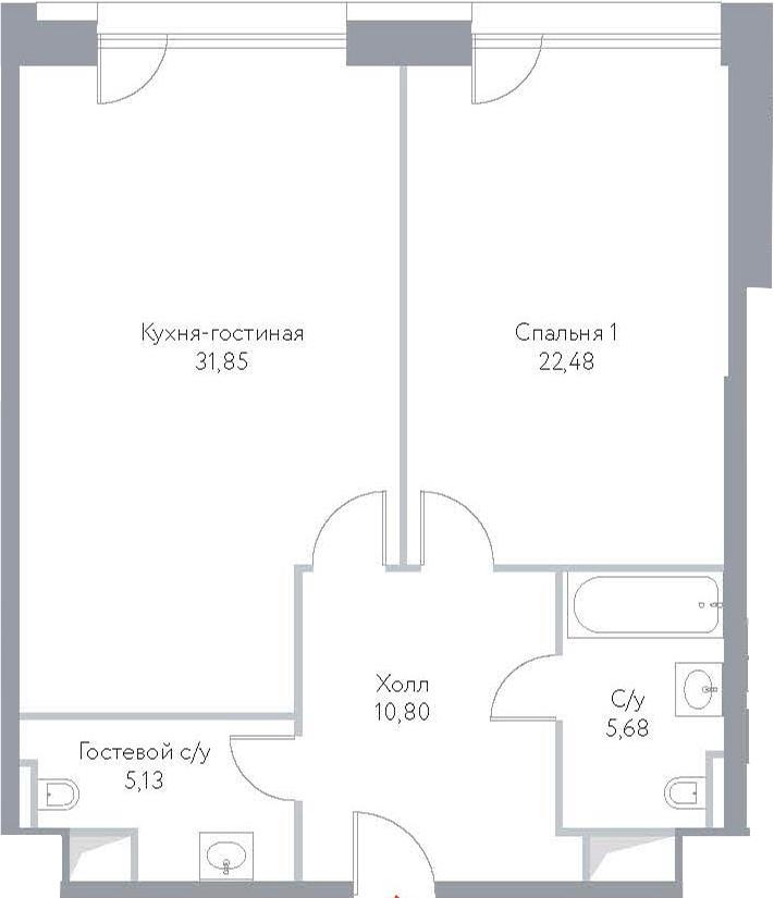 2Е-комнатная, 75.94 м²– 2