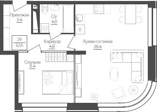 2Е-комнатная, 52.6 м²– 2