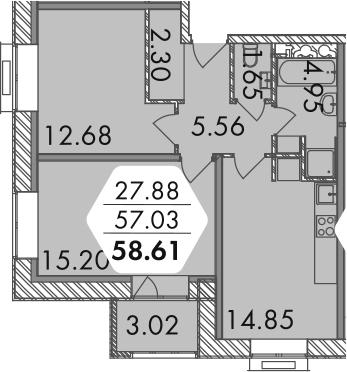 2-к.кв, 60.21 м²