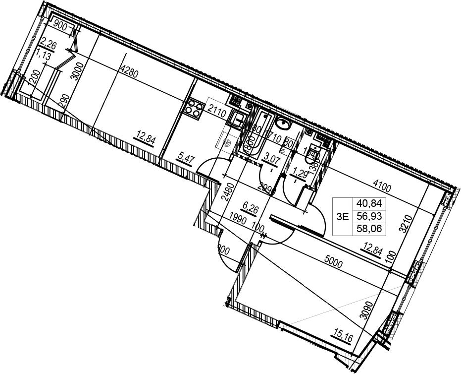 3Е-к.кв, 58.06 м²