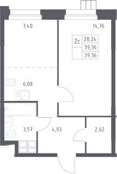 2Е-к.кв, 39.4 м², 6 этаж