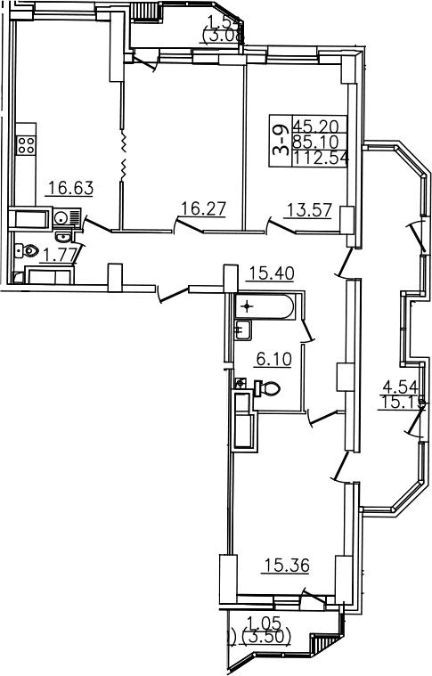 4Е-комнатная, 112.54 м²– 2