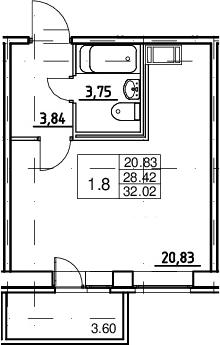 Студия, 28.42 м², 18 этаж