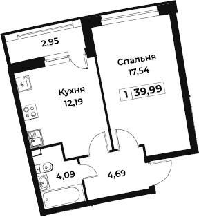 1-комнатная, 39.99 м²– 2
