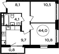 2-комнатная, 44 м²– 2