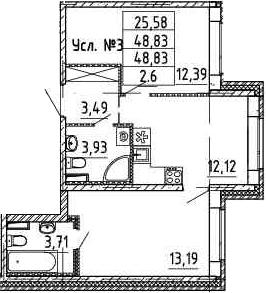 2-к.кв, 48.83 м²