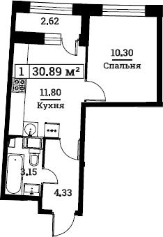 1-к.кв, 30.89 м², от 2 этажа