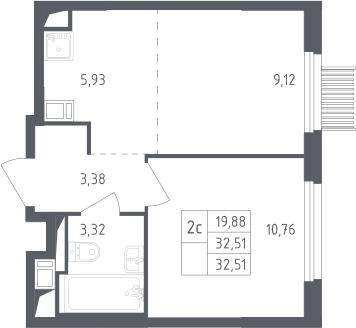 2Е-к.кв, 32.51 м², от 8 этажа