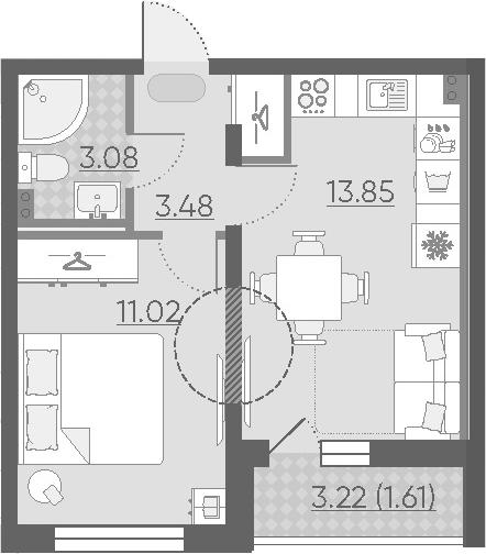 1-к.кв, 34.65 м²