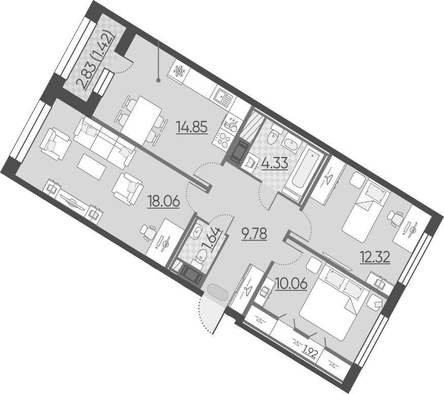 3-к.кв, 74.38 м², 9 этаж