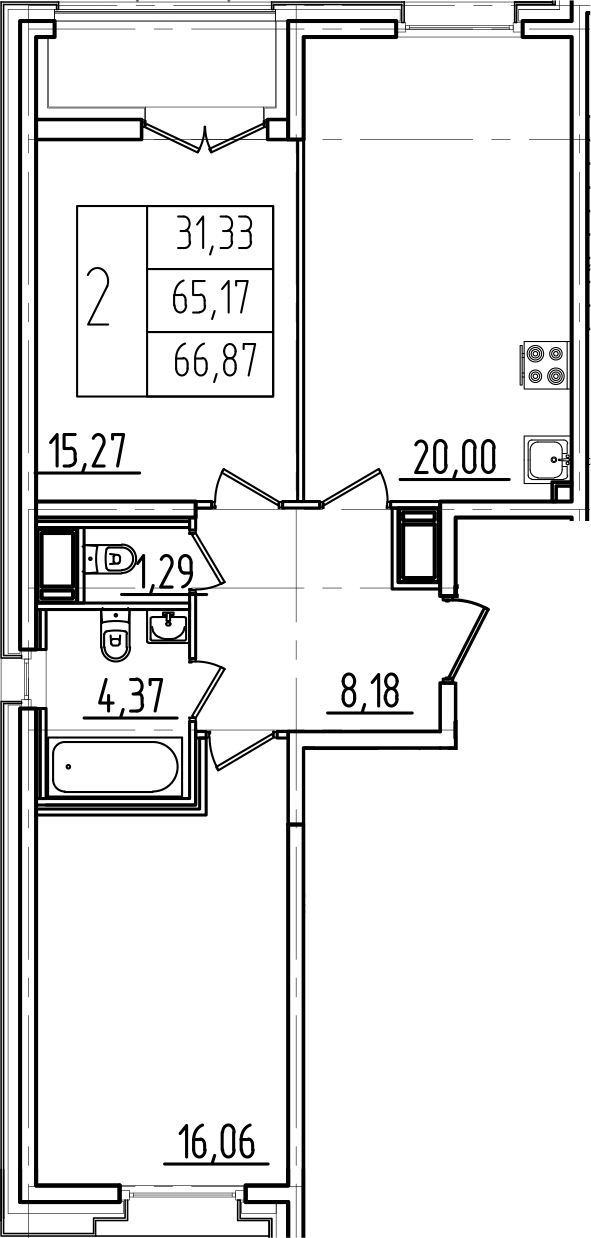 3Е-к.кв, 66.87 м²