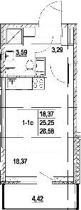 Студия, 29.67 м²