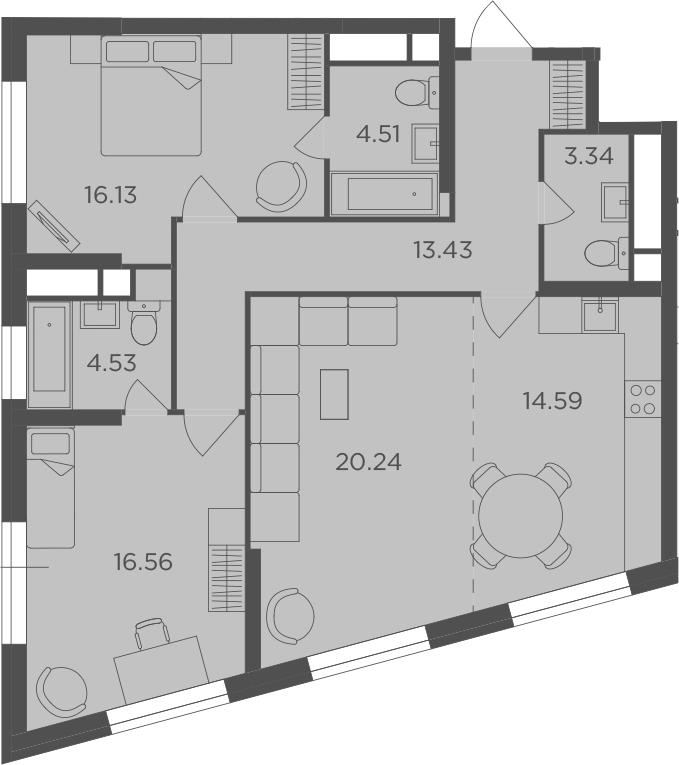 3-к.кв, 93.33 м²