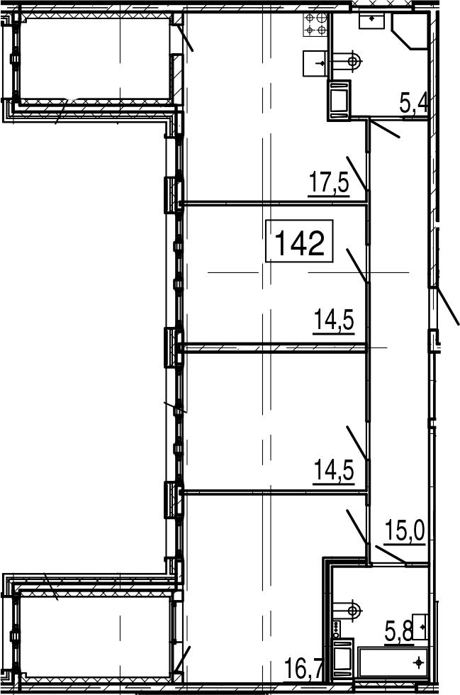 4Е-к.кв, 96 м², 11 этаж