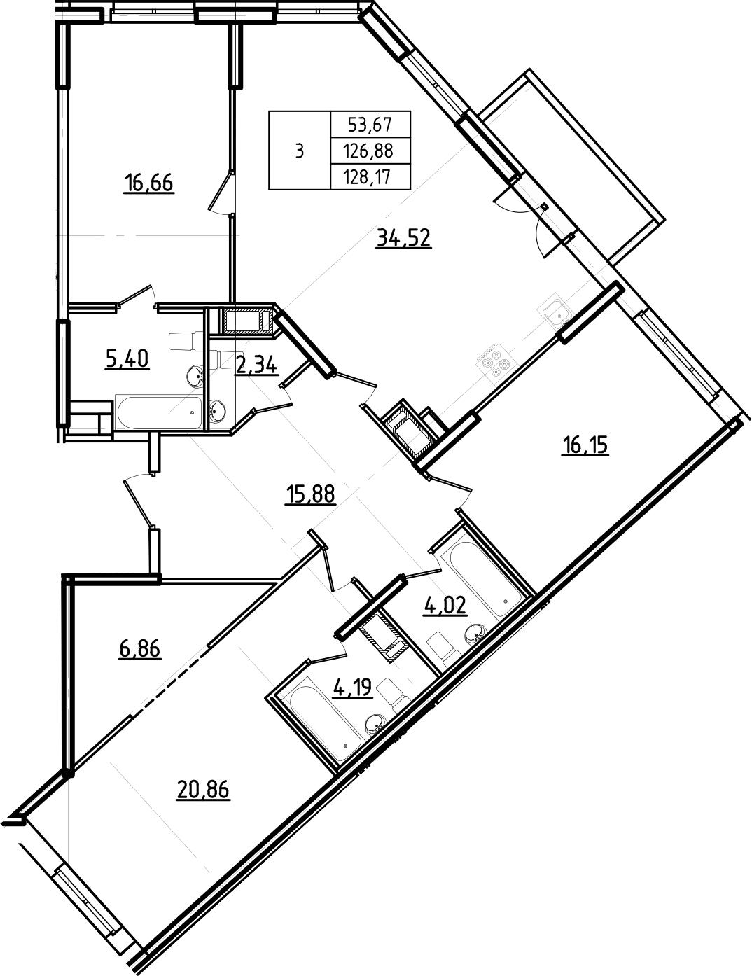 4Е-комнатная, 128.17 м²– 2