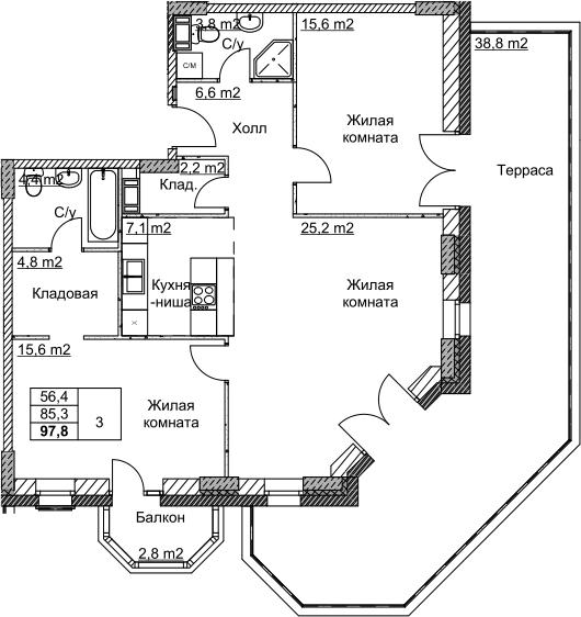 3Е-комнатная, 97.8 м²– 2