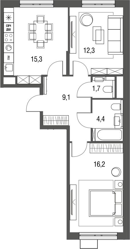 3Е-к.кв, 59 м², 2 этаж