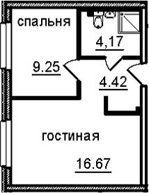 2Е-к.кв, 34.51 м², 23 этаж