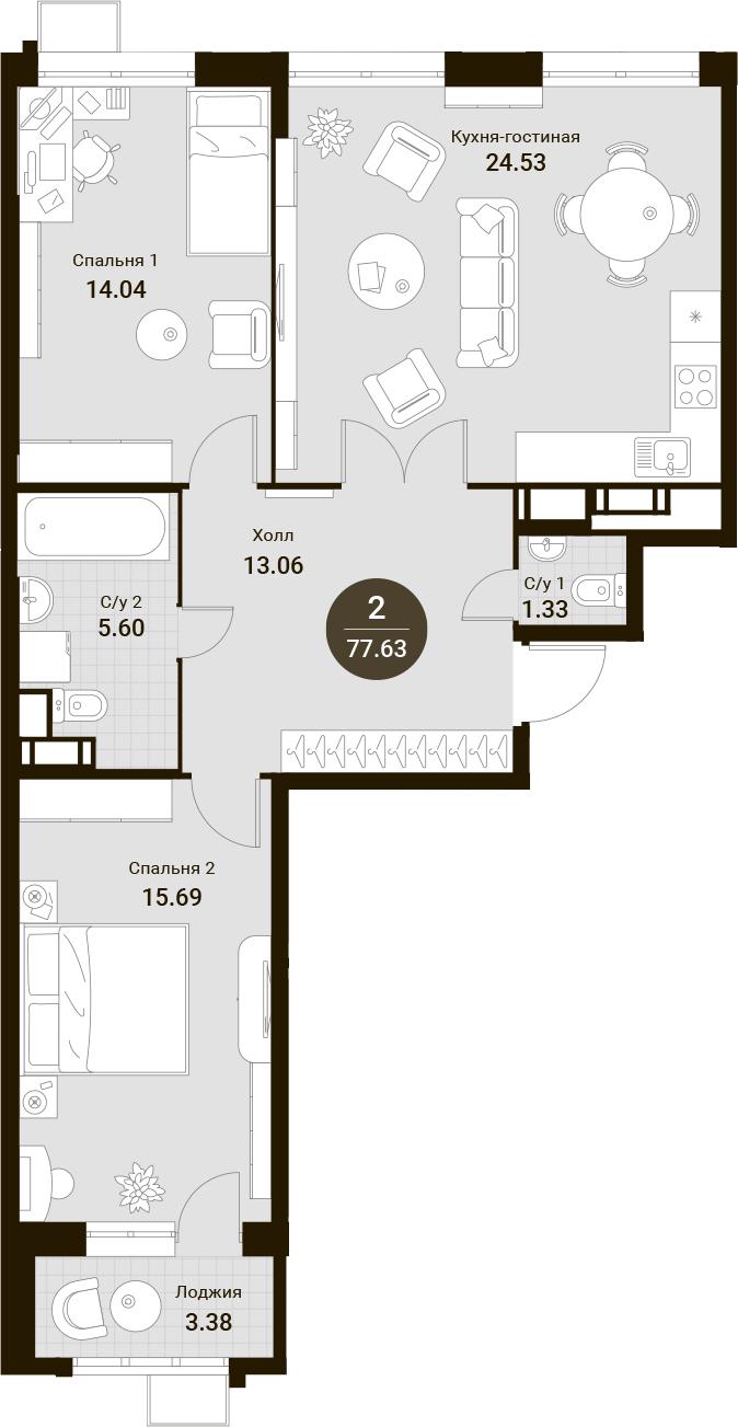 3Е-к.кв, 77.63 м²