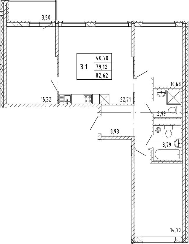 4Е-к.кв, 80.87 м²