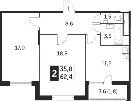 2-к.кв, 61.5 м², от 8 этажа