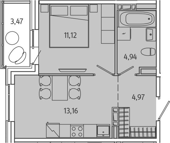 1-комнатная, 35.93 м²– 2