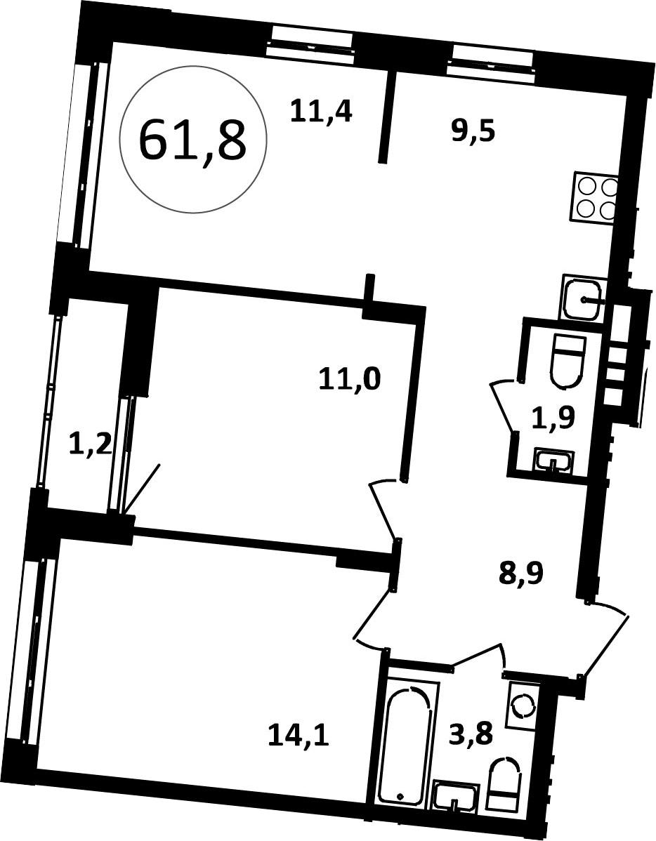 3-к.кв, 61.8 м²