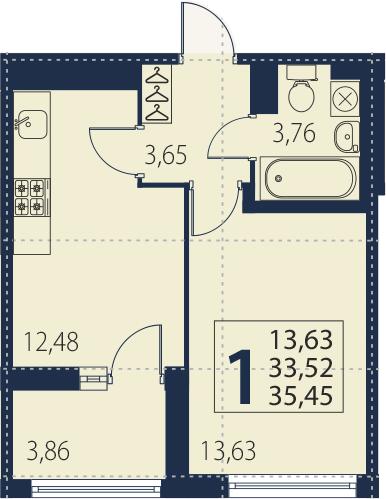 1-к.кв, 37.38 м²