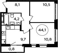2-комнатная, 44.1 м²– 2