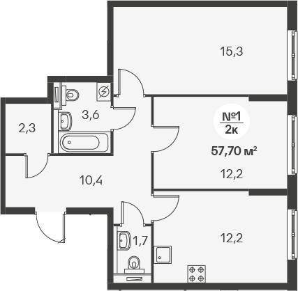 2-к.кв, 57.7 м²