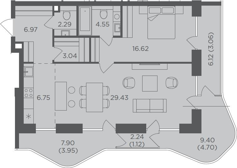 2Е-комнатная, 82.48 м²– 2