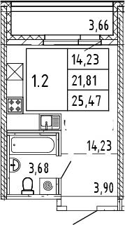 Студия, 25.47 м²