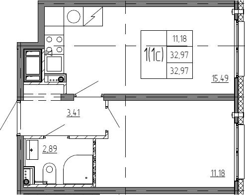 2Е-к.кв, 32.97 м²