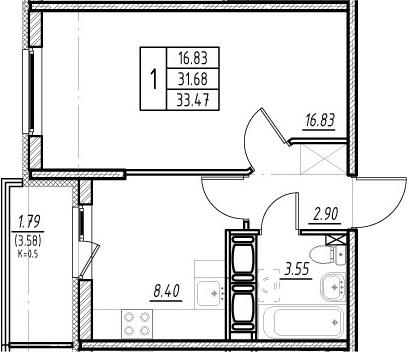 1-комнатная, 31.68 м²– 2
