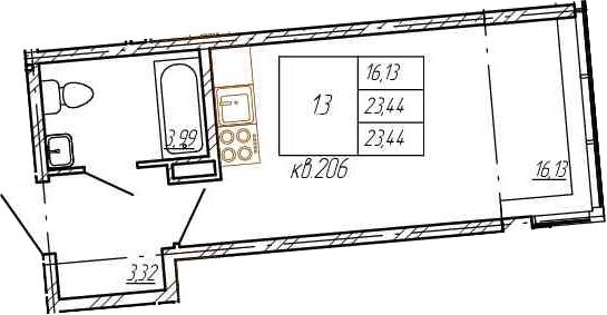 Студия, 23.44 м²