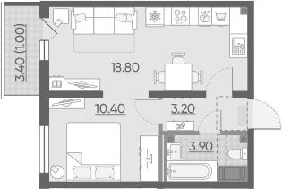2Е-комнатная, 37.3 м²– 2