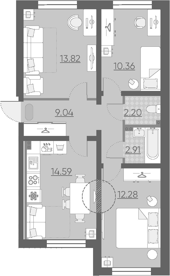 3-к.кв, 65.2 м²