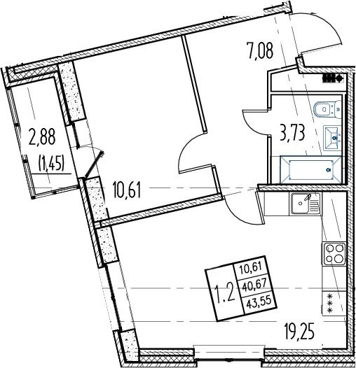 1-комнатная, 40.67 м²– 2