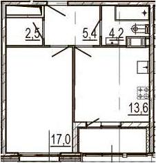 1-к.кв, 44.7 м², 8 этаж
