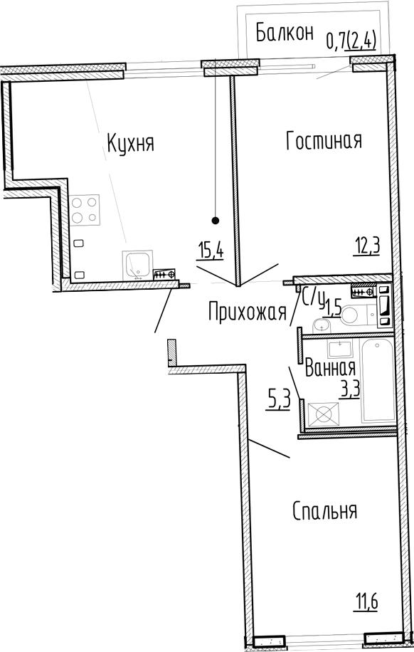 3Е-к.кв, 49.4 м², 2 этаж
