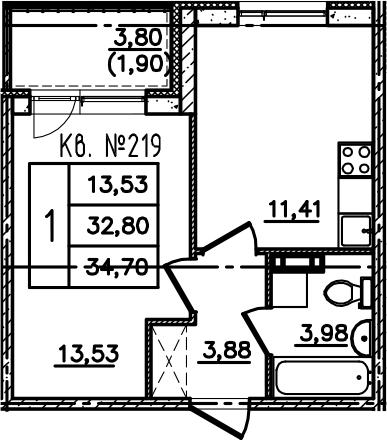 1-к.кв, 36.6 м²