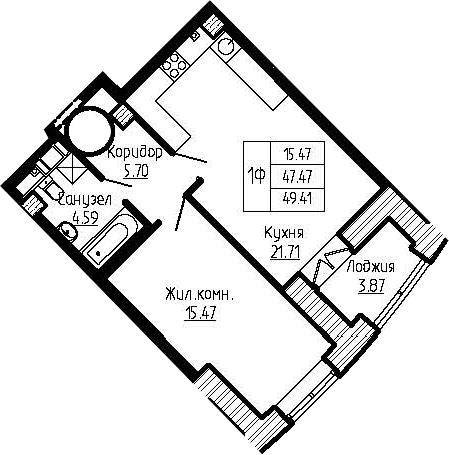 2-к.кв (евро), 51.34 м²