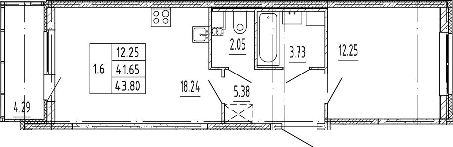 2Е-комнатная, 41.65 м²– 2