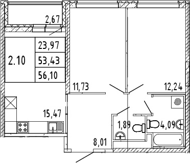 3Е-комнатная квартира, 54.77 м², 2 этаж – Планировка