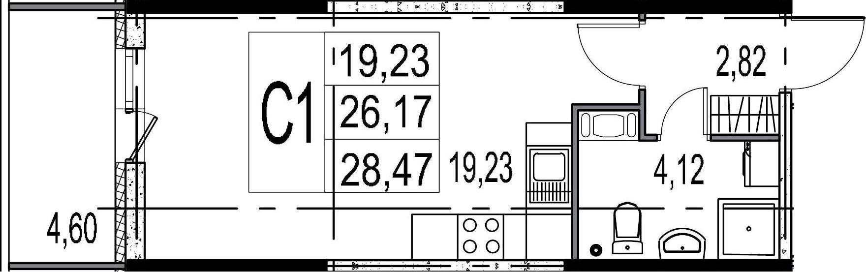 Студия, 26.17 м²– 2