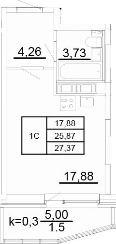 Студия, 27.37 м², 3 этаж