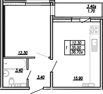 2-к.кв (евро), 38.4 м²