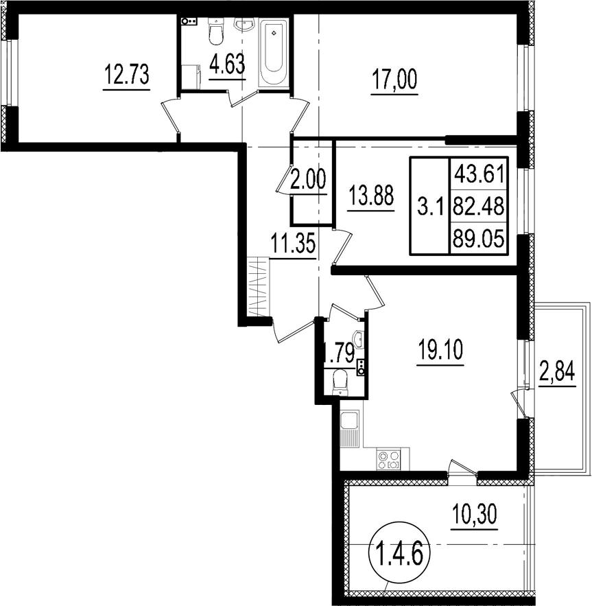 4-к.кв (евро), 95.62 м²
